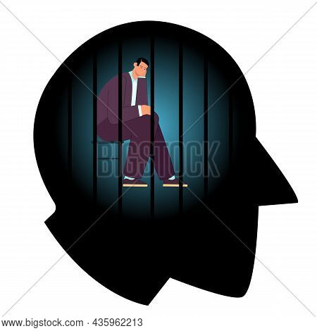 Powerless Man With Depression In Prison Of Mind. Male Character Sitting Behind Narrow Prison Bars In