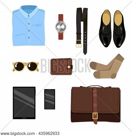 Male Clothes For Office Work. Set Of Formal Business Accessories, Clothes For Official Duty Vector I