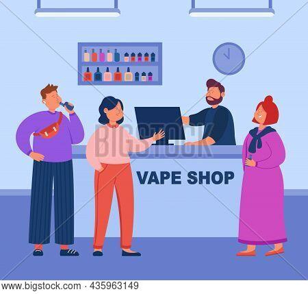 Modern Barman Serving Customers Who Smoking Electronic Vaporizer Cigarettes Near Showcase. Vape Shop