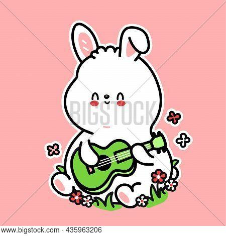 Cute Funny Rabbit Play On Ukulele Guitar Character. Vector Hand Drawn Cartoon Kawaii Character Illus