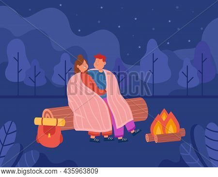 Young Couple Hugging And Looking At Night Sky In Forest. Girl And Her Boyfriend Having Romantic Outd