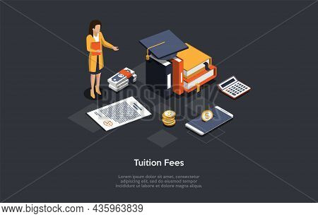 Dark Background, Conceptual Writing. Isometric Vector Composition, Illustration In Cartoon 3d Style.