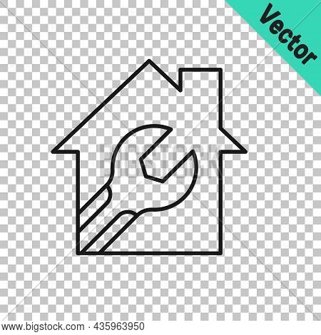 Black Line House Or Home With Wrench Spanner Icon Isolated On Transparent Background. Adjusting, Ser