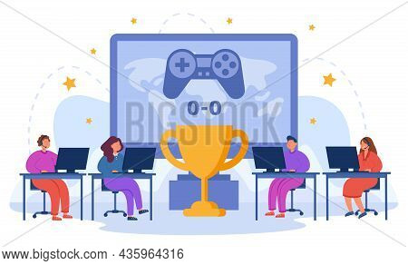 Girls And Boys Competing In Esports For The Cup Using Pc. Winning Cup In Gaming Championship Flat Ve