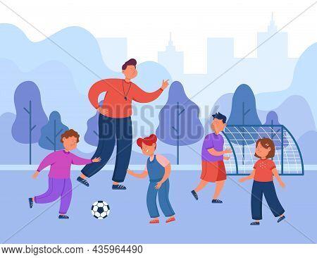 Cartoon Soccer Coach Training Class. Happy Children Playing Football On Field Flat Vector Illustrati