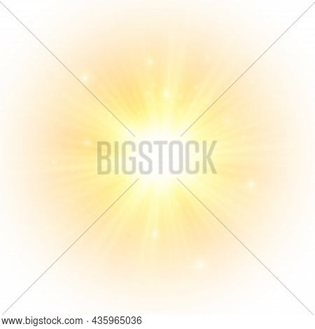 Flash Yellow Sun, Star Flashed With Sparkles.