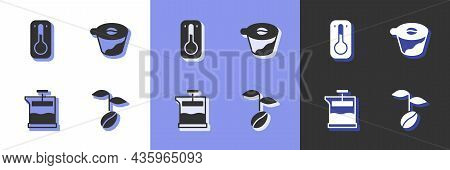 Set Coffee Beans, Thermometer, French Press And Pour Over Coffee Maker Icon. Vector