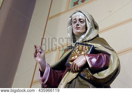 VELIKA GORICA, CROATIA - SEPTEMBER 28, 2012: Saint Anne, statue in the parish church of the Annunciation of the Virgin Mary in Velika Gorica, Croatia