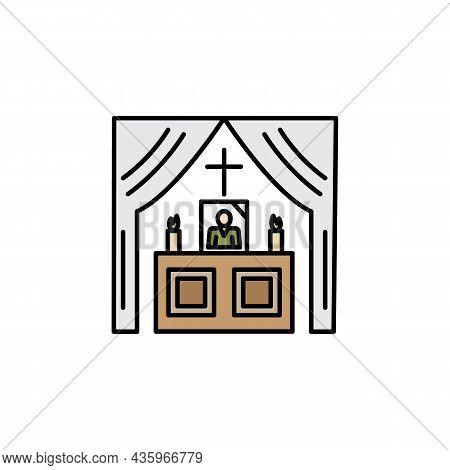 Altar Line Illustration Colored Icon. Signs And Symbols Can Be Used For Web, Logo, Mobile App, Ui, U