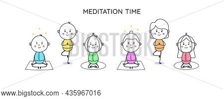 Yoga Practice And Meditation Time. Doodle Man And Woman, Cute People. Yoga Poses, Meditation Practic