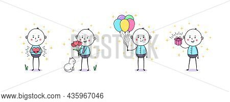 Cartoon Doodle Man With Heart Mercy, Red Flowers, Balloons And Gift Box. Birthday, Gift Present Cere