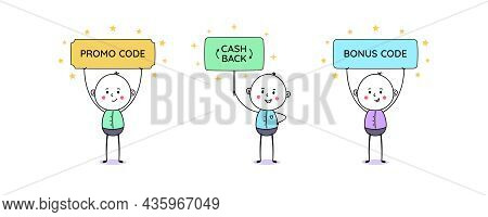 Sign With Text Promo Code, Cash Back And Bonus Code. Cartoon Doodle Man, Cute People. Promo Action,