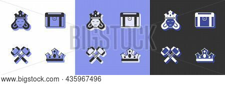 Set King Crown, Princess Or Queen, Crossed Battle Hammers And Antique Treasure Chest Icon. Vector