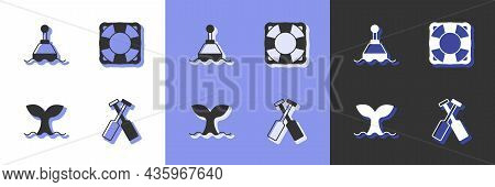 Set Crossed Oars Or Paddles Boat, Floating Buoy, Whale Tail And Lifebuoy Icon. Vector
