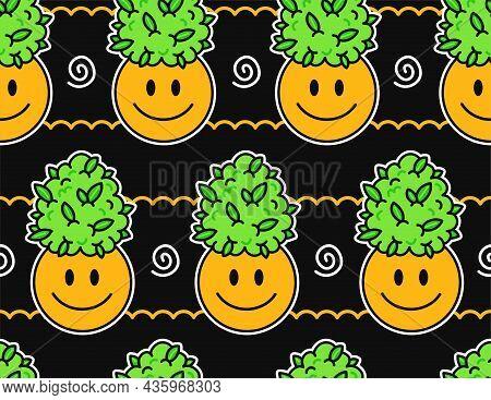 Cute Funny Happy Smile Face And Weed Marijuana Leafs Buds Seamless Pattern. Vector Kawaii Cartoon Il