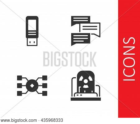 Set Radioactive Warning Lamp, Usb Flash Drive, Neural Network And Speech Bubble Chat Icon. Vector