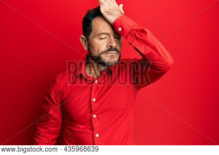 Middle age man wearing casual clothes surprised with hand on head for mistake, remember error. forgot, bad memory concept.