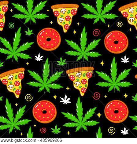 Psychedelic Trippy Weed, Pizza, Donuts Seamless Pattern. Vector Cartoon Character Illustration Desig