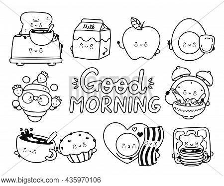 Cute Happy Breakfast Food, Good Morning Coloring Page Set Collection.vector Cartoon Kawaii Clock Cha