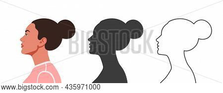 Heads In Profile. Woman's Face From The Side. Silhouettes Of People In Three Different Styles. Face