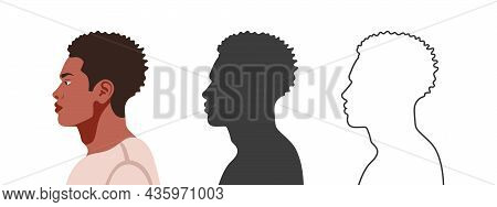 Heads In Profile. Face From The Side. Silhouettes Of People In Three Different Styles. Profile Of A