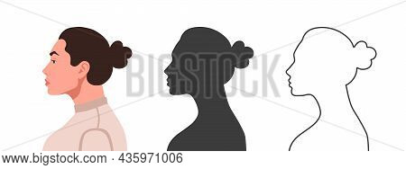 Profile Of The Head. Woman's Face From The Side. Silhouettes Of People In Three Different Styles. Fa