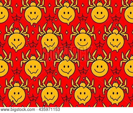 Psychedelic Spider Smile Face Character. Vector Hand Drawn Doodle Cartoon Character Illustration.smi