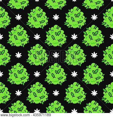 Funny Weed Marijuana Buds And Leafs Seamless Pattern. Vector Kawaii Cartoon Illustration Icon Design