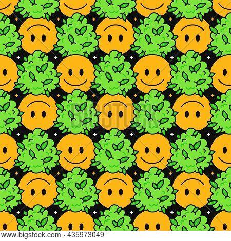 Cute Funny Happy Smile Face And Weed Marijuana Leafs And Stars Seamless Pattern. Vector Kawaii Carto