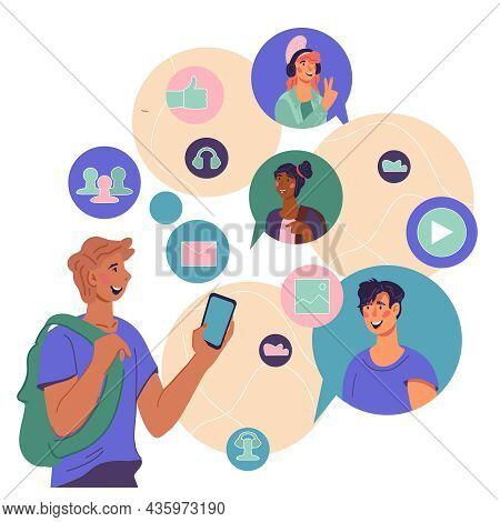 Social Network And Teamwork, People Communications Concept With Cartoon Characters. People Discuss N