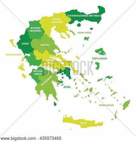 Green Political Map Of Greece. Administrative Divisions - Decentralized Administrations. Simple Flat