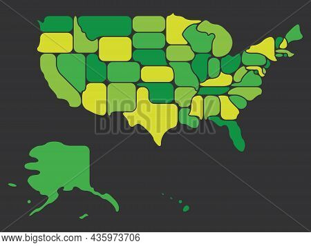Simplified Map Of Usa, United States Of America. Retro Style. Geometrical Shapes Of States With Roun