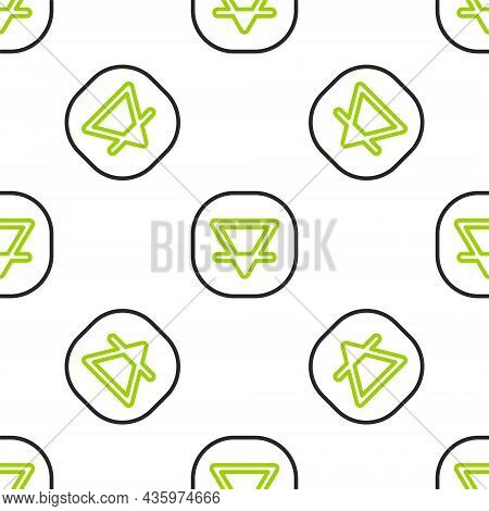 Line Earth Element Of The Symbol Alchemy Icon Isolated Seamless Pattern On White Background. Basic M