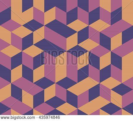 Abstract Background Seamless Geometric Pattern. Cube Shape, Diamond Shape. Purple Pink Yellow Color.