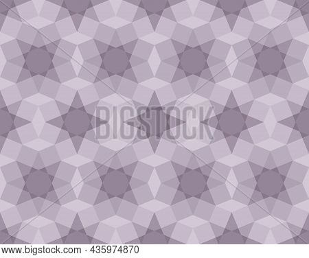 Seamless Abstract Geometric Pattern, Purple, Gray. Arranged In A Grid. Octagon Shape Background And
