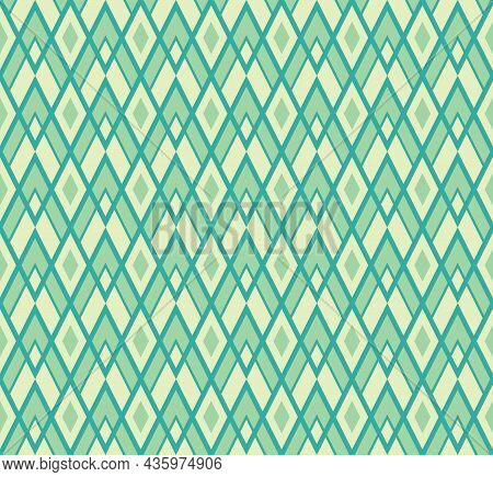 Geometric Background Pattern Seamless. Diamond Shape Yellow Green Color. Surface Design For Apparel,