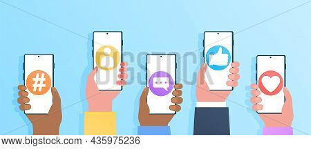 Social Media Applications. Hands Hold Smartphones With Open Programs. Internet Communication, Intern
