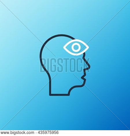 Line Man With Third Eye Icon Isolated On Blue Background. The Concept Of Meditation, Vision Of Energ