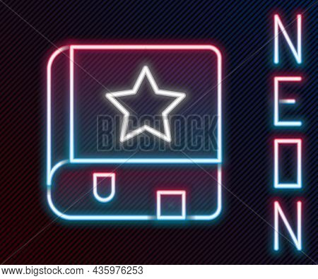 Glowing Neon Line Ancient Magic Book With Alchemy Recipes And Mystic Spells And Enchantments Icon Is