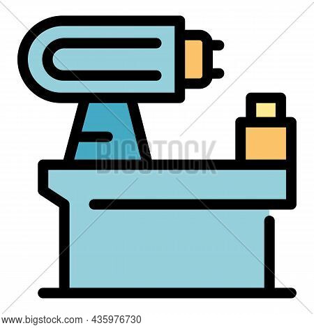 Automated Lathe Icon. Outline Automated Lathe Vector Icon Color Flat Isolated