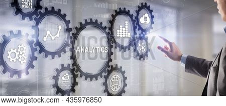 Analytics Data Analysis Strategy Statistic. Pressing Your Finger On The Inscription Analytics