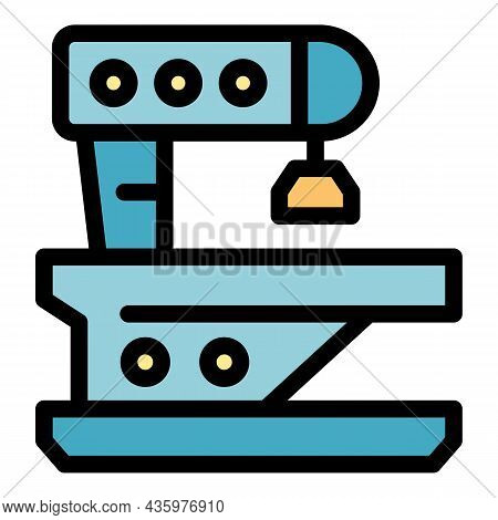 Cnc Lathe Icon. Outline Cnc Lathe Vector Icon Color Flat Isolated