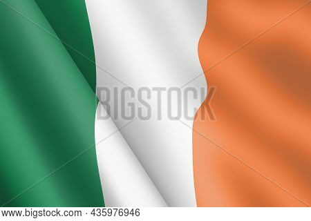 Republic Of Ireland Waving Flag 3d Illustration Wind Ripple