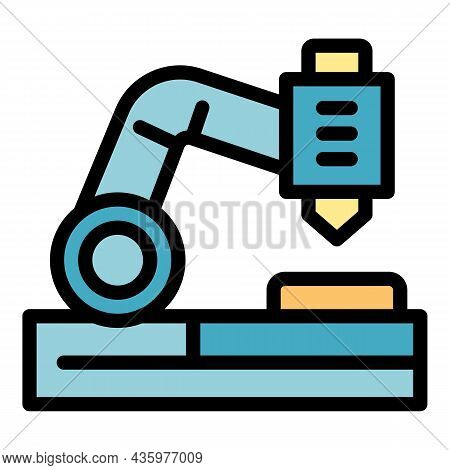Cutter Lathe Icon. Outline Cutter Lathe Vector Icon Color Flat Isolated