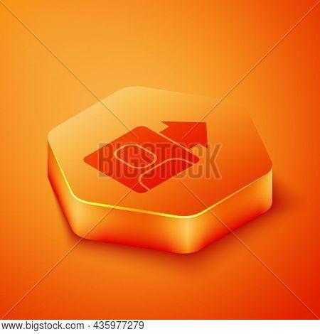 Isometric Leader Of A Team Of Executives Icon Isolated On Orange Background. Orange Hexagon Button.