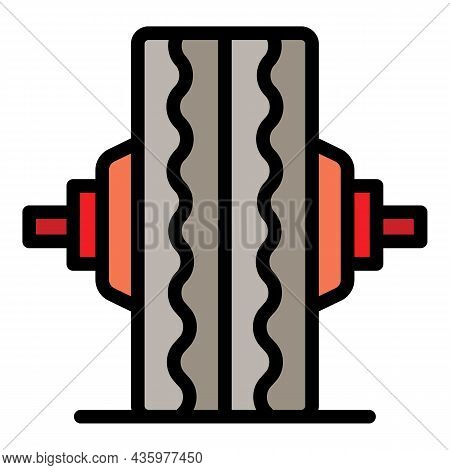Truck Tire Fitting Icon. Outline Truck Tire Fitting Vector Icon Color Flat Isolated