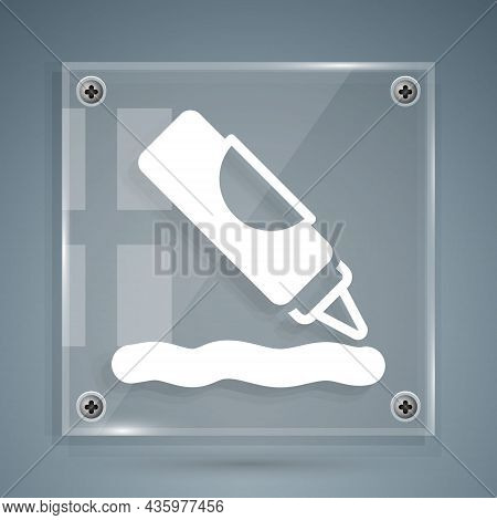White Ketchup Bottle Icon Isolated On Grey Background. Barbecue And Bbq Grill Symbol. Square Glass P
