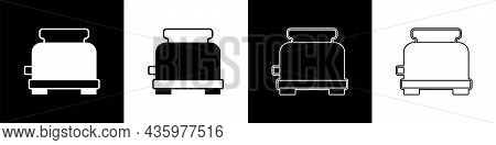 Set Toaster Icon Isolated On Black And White Background. Vector