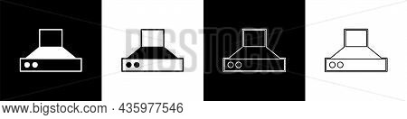 Set Kitchen Extractor Fan Icon Isolated On Black And White Background. Cooker Hood. Kitchen Exhaust.