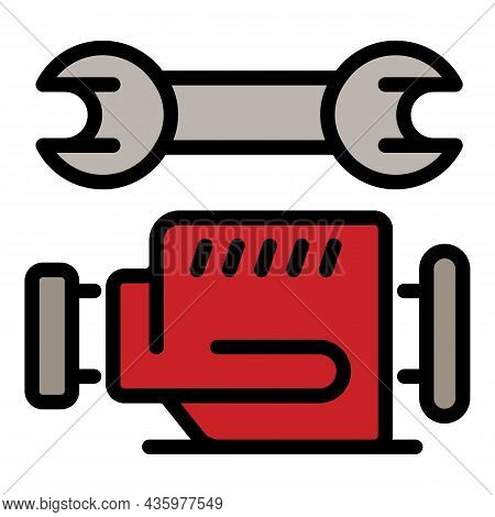 Repair Car Motor Icon. Outline Repair Car Motor Vector Icon Color Flat Isolated